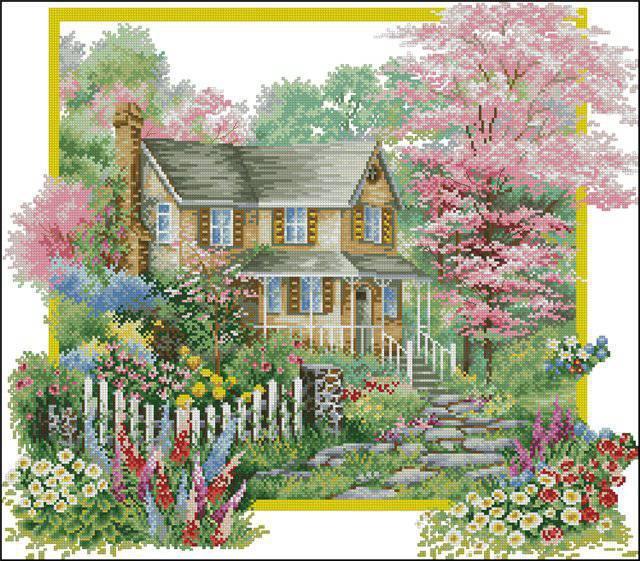 Схемы вышивки домов