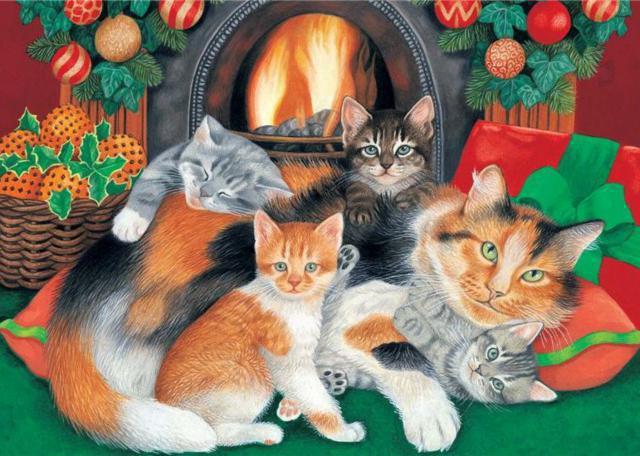 Кошки у камина, оригинал