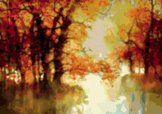 Акварель Осенний пейзаж