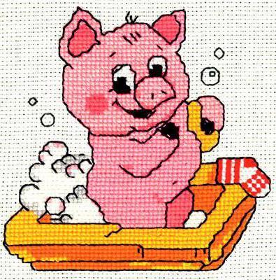 Вышивки крестом свинья
