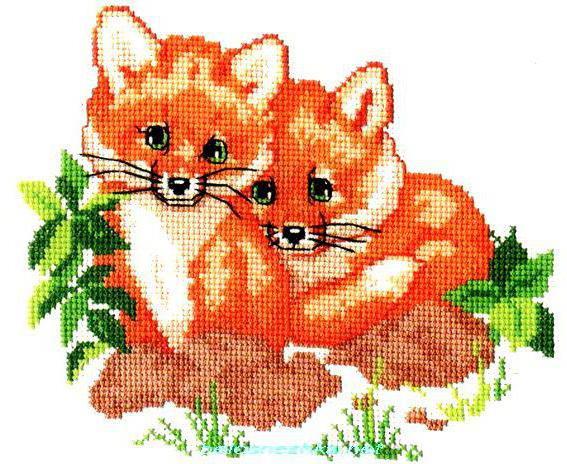 Вышивка лисы и лисята
