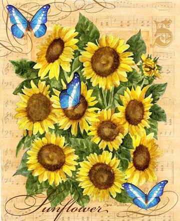 ПОдсолнухи и бабочки, оригинал