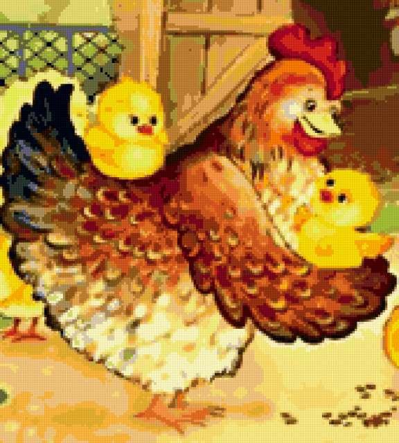 Курочка с цыплятами,