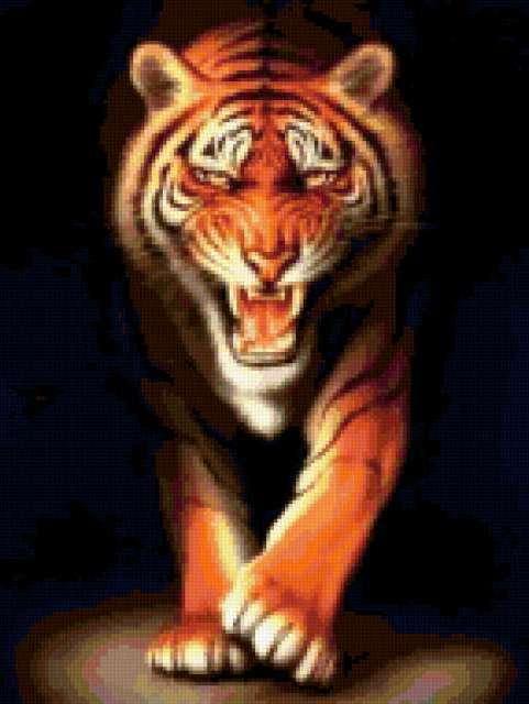 Схема вышивки «Тигр на черном