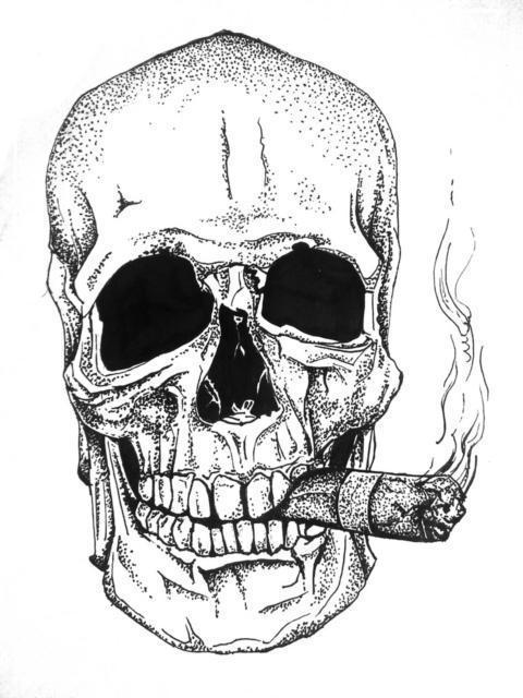 Череп с сигарой, оригинал