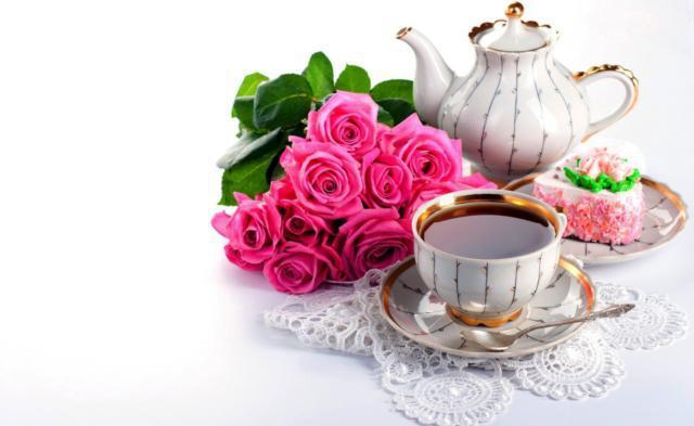 Чайные розы, кофе, розы,