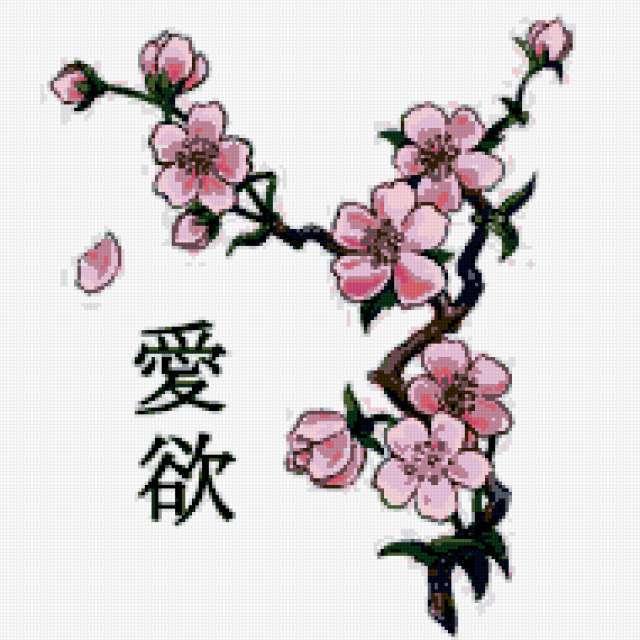 Сакура и иероглифы
