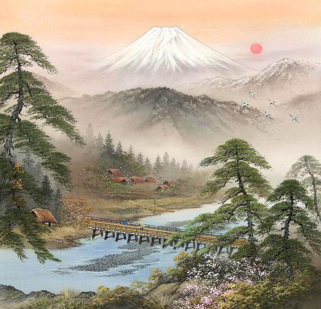 пейзаж, япония, фудзияма,