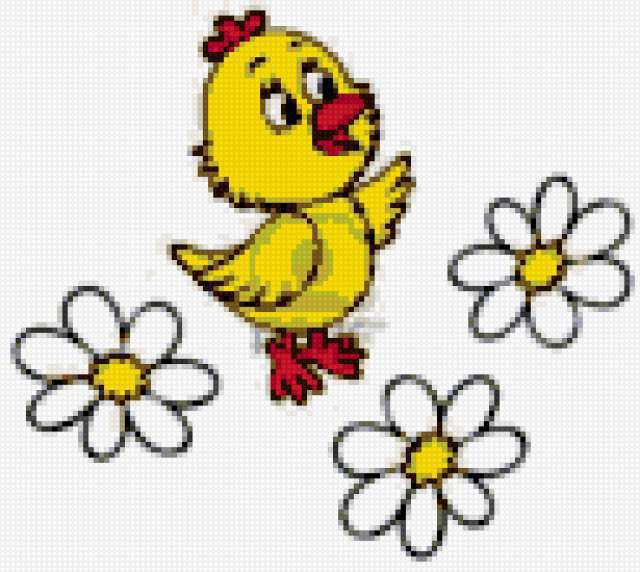 Цыплёнок и ромашки