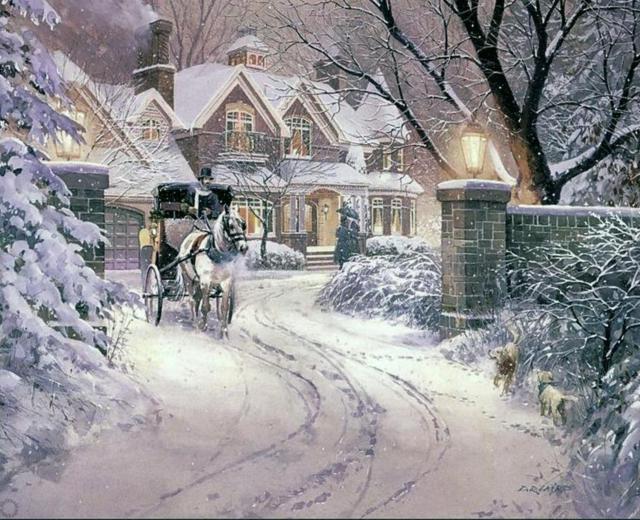 Зимний домик)), зима, зимний