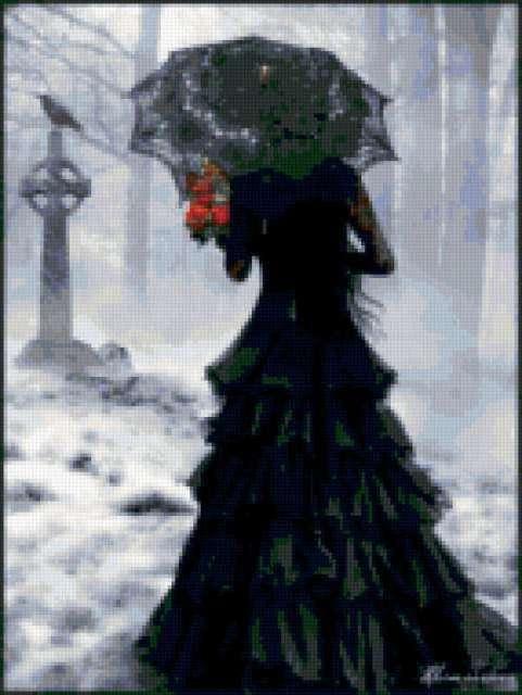Готика, девушка в черном розы