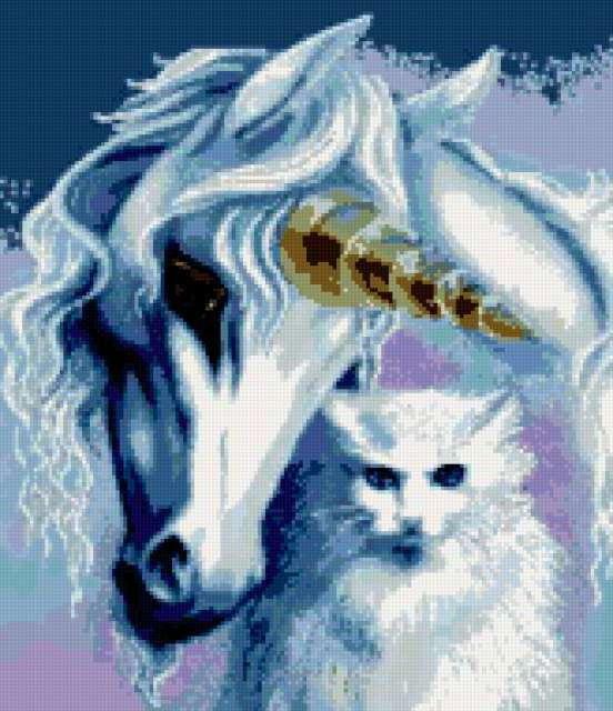 Единорог и белый кот,