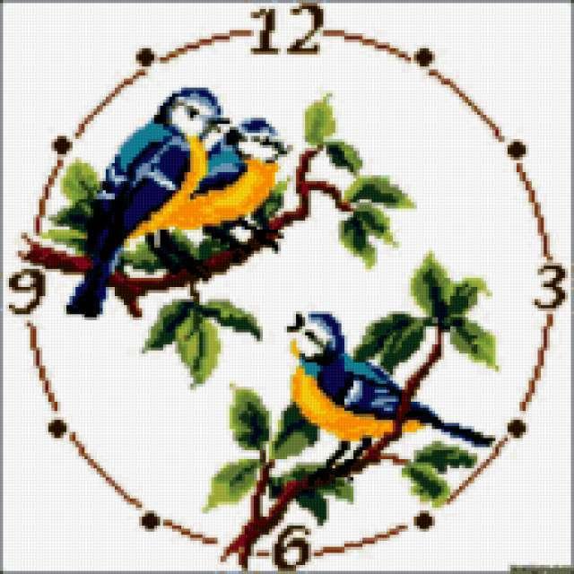 Часы - синички, предпросмотр