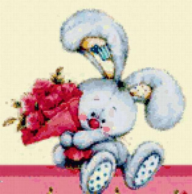 Зайчонок с цветами