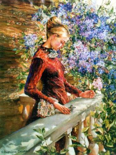 Грусть, девушка, пейзаж, цветы