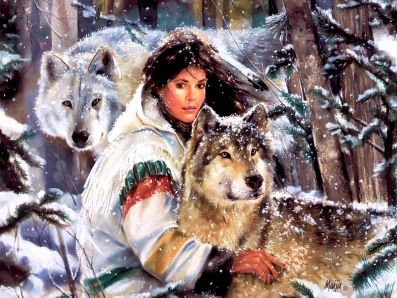 девушка с волками №1, оригинал