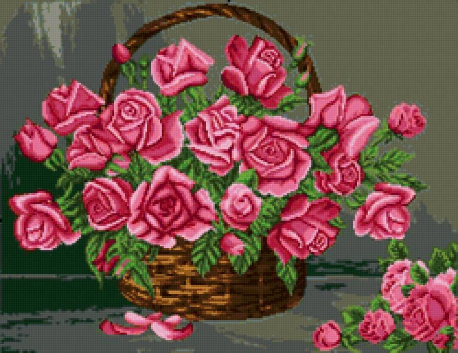 Вышивка схема розы в корзине 4