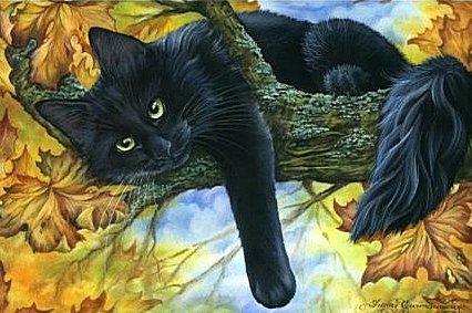 черный кот на дереве, оригинал