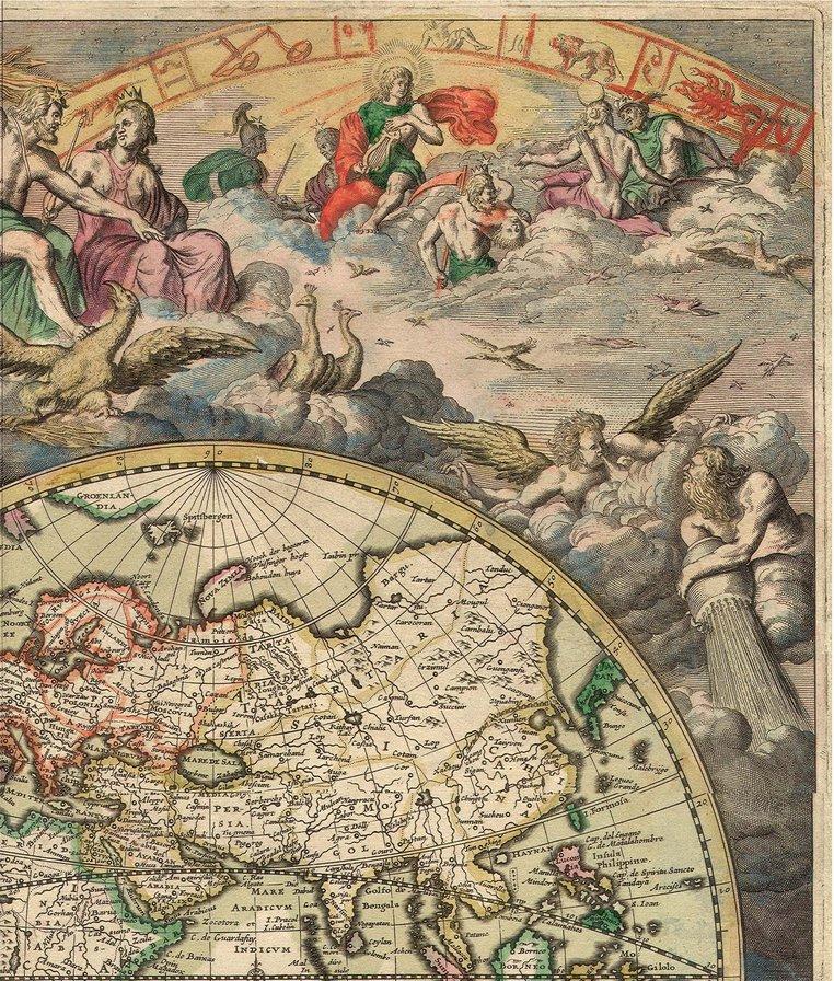 Карта мира 1680 г (верх -3),