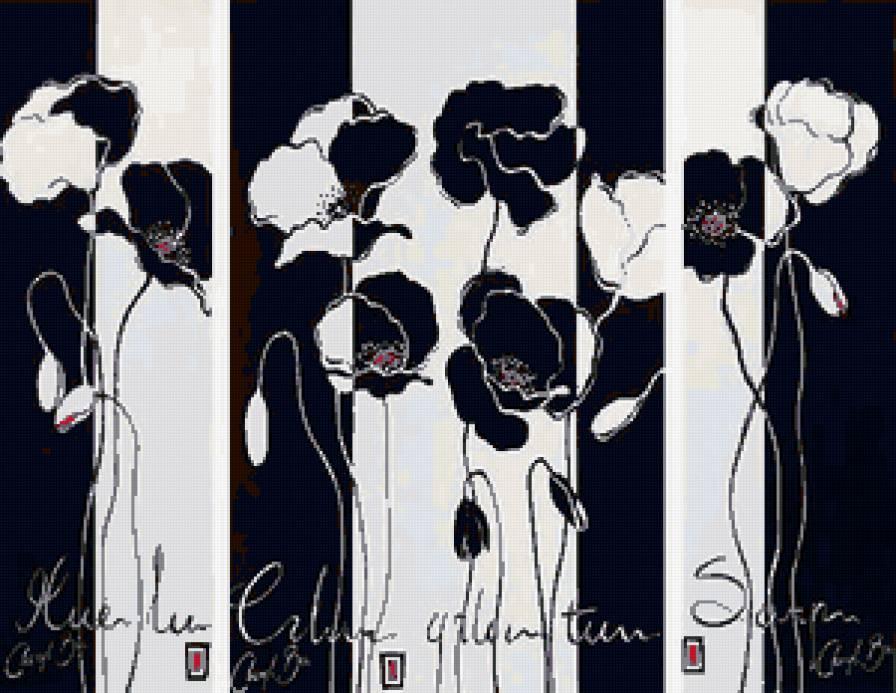 Вышивка крестом черно белые триптихи