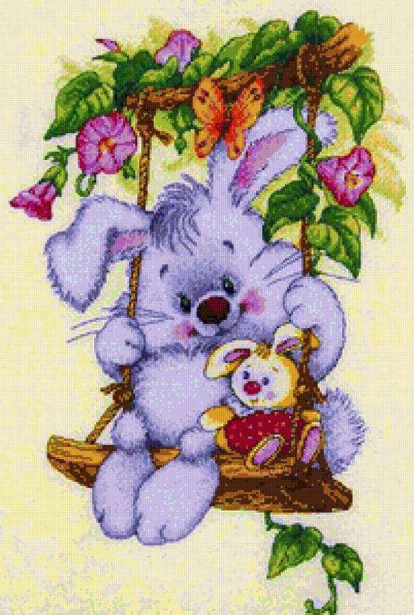 Зайчонок на качелях