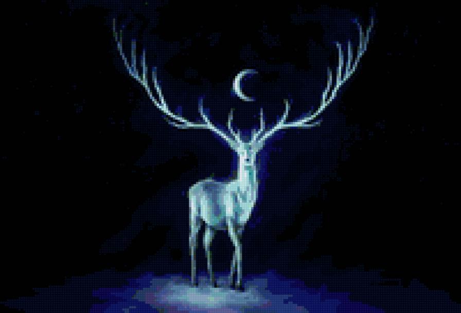 Лунный олень, Олень, ночь,
