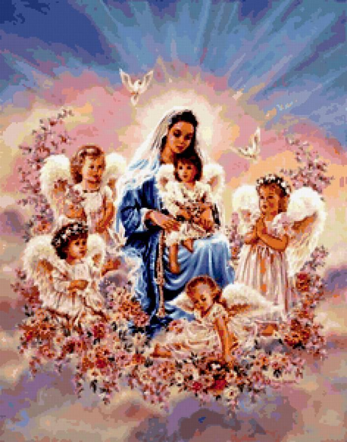 Дева Мария и ангелочки,