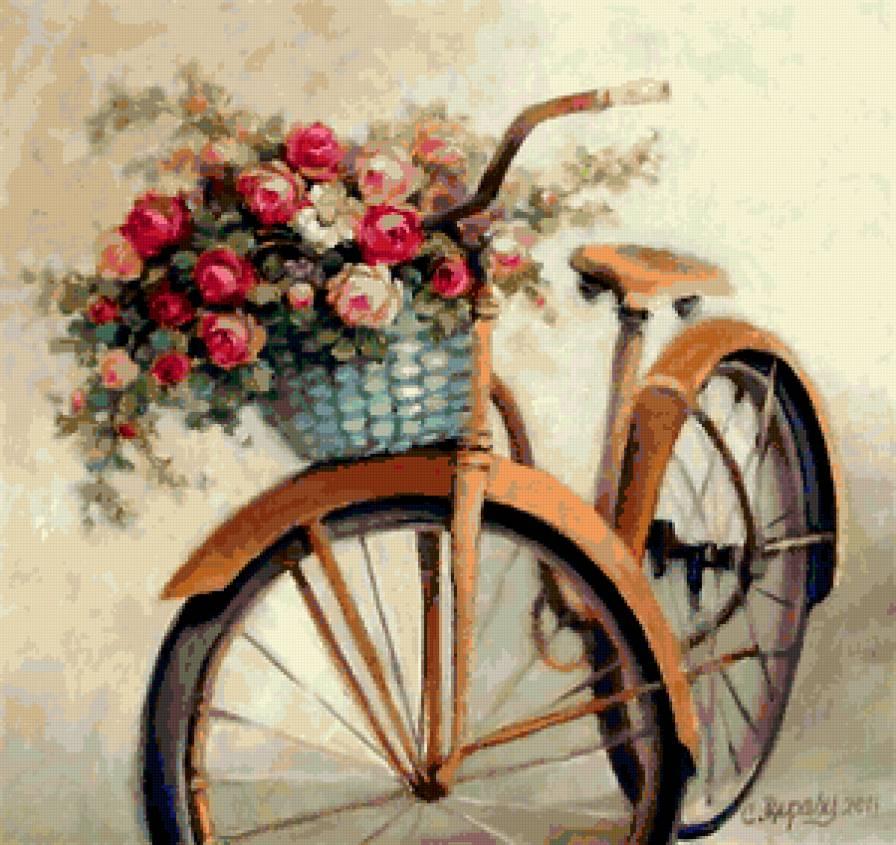 К схеме вышивки «Велосипед и