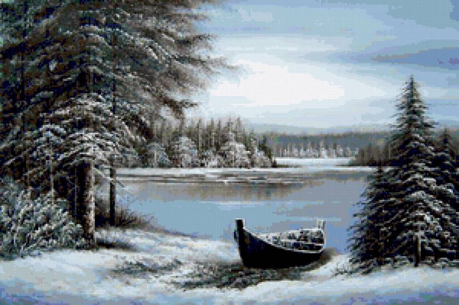 Схема вышивки река зимой 3