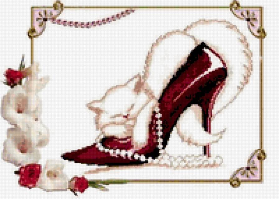 Вышивка кот в туфле