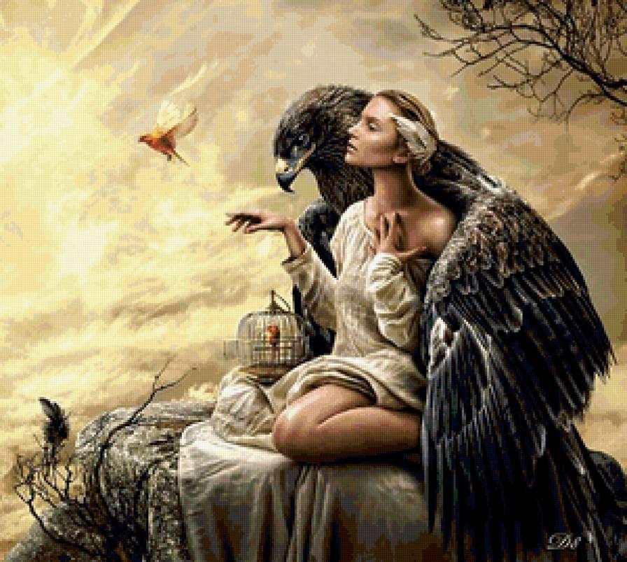 Девушка и орел, предпросмотр