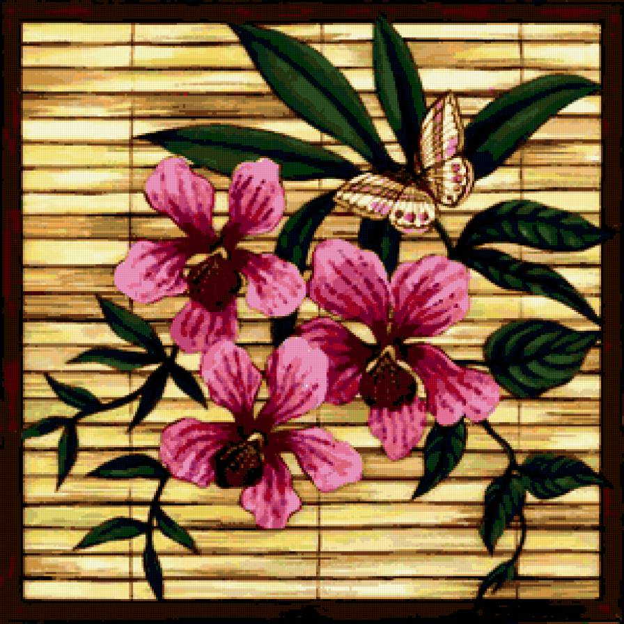 вышивка схема цветы рамка