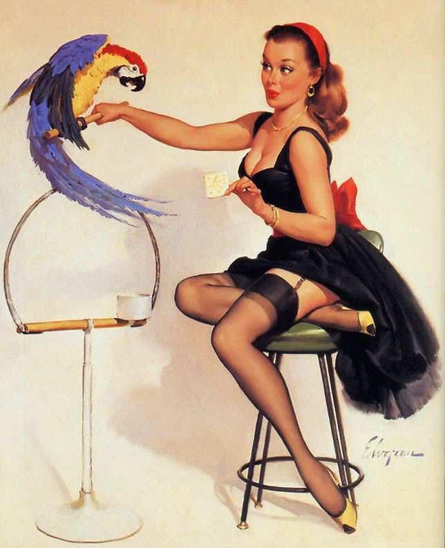 ретро девушка с попугаем,