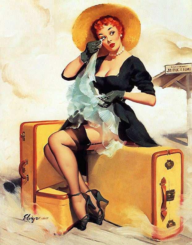 пин-ап, чулки, чемоданы,