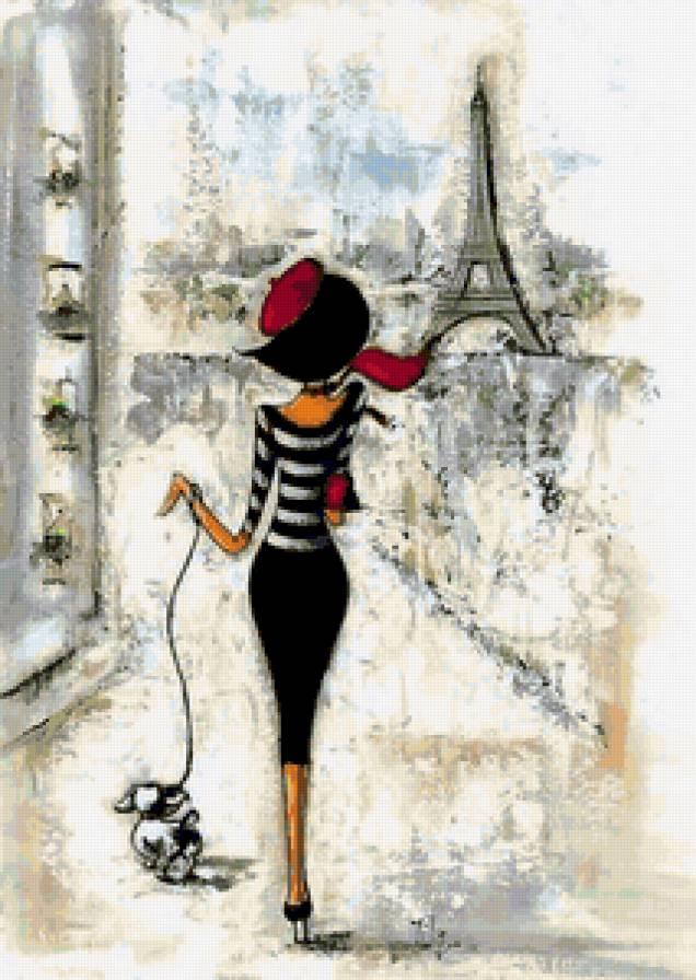 Париж, девушка, рисунок,