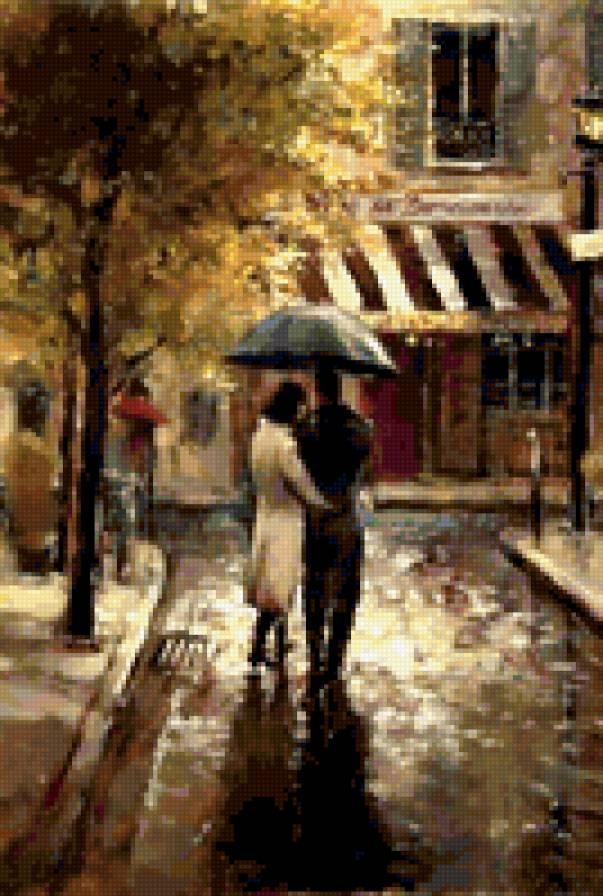 Пара под зонтом в городе,