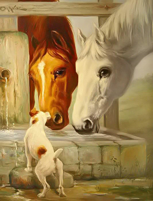 На водопое, Лошади, животные