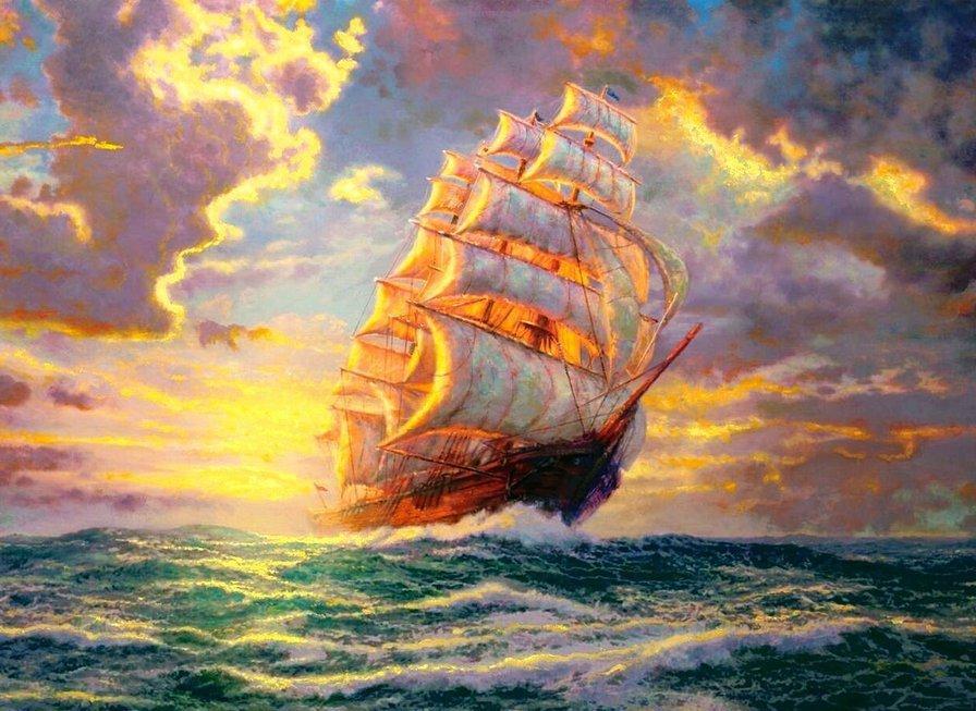 Схемы для вышивки крестом парусник корабль