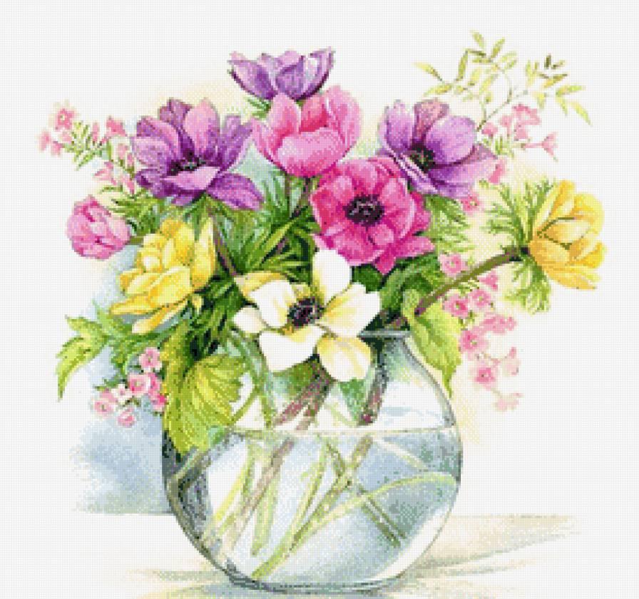 Букет анемонов, Анемоны, цветы, букет, нежные акварели, акварель