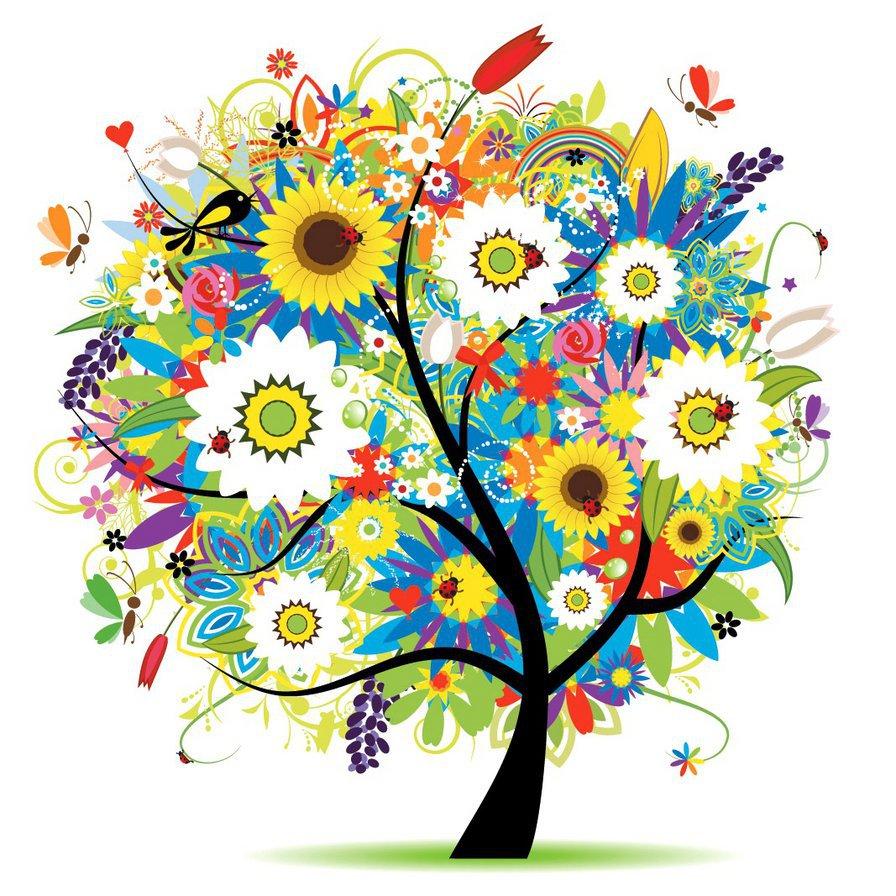 схема для вышивание дерево