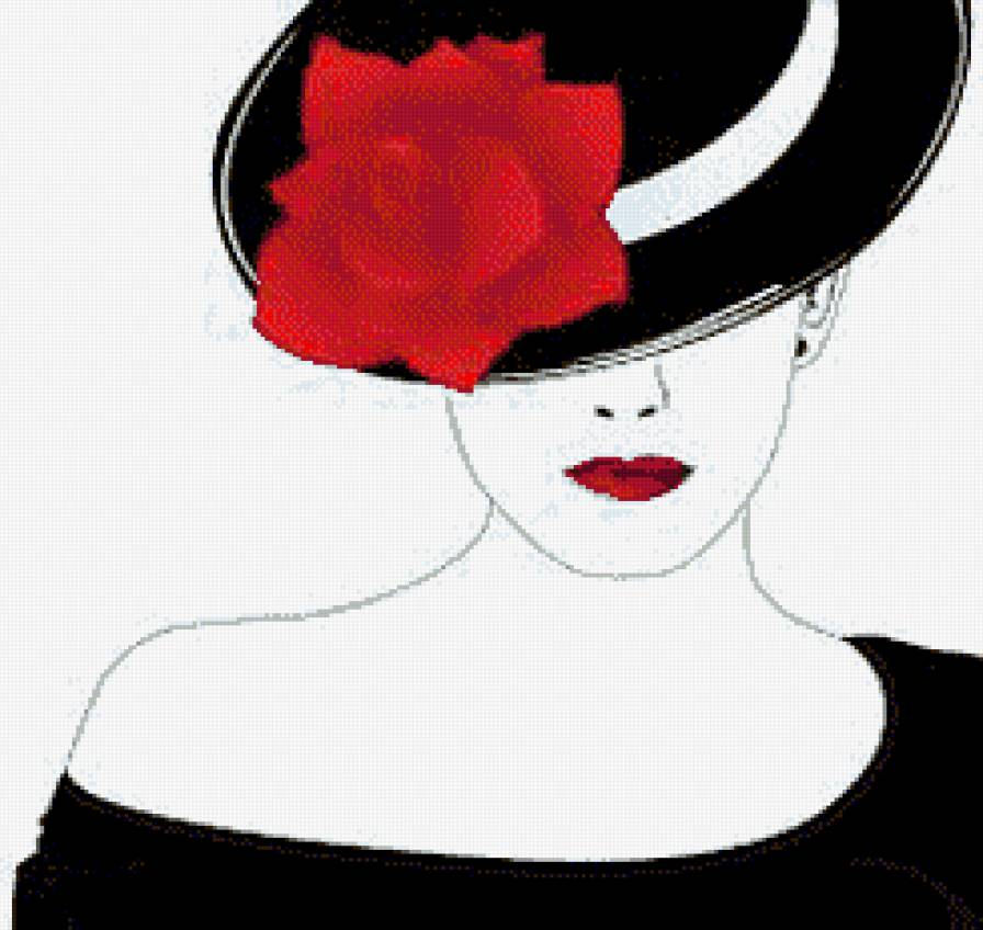 дама в шляпе с цветком,