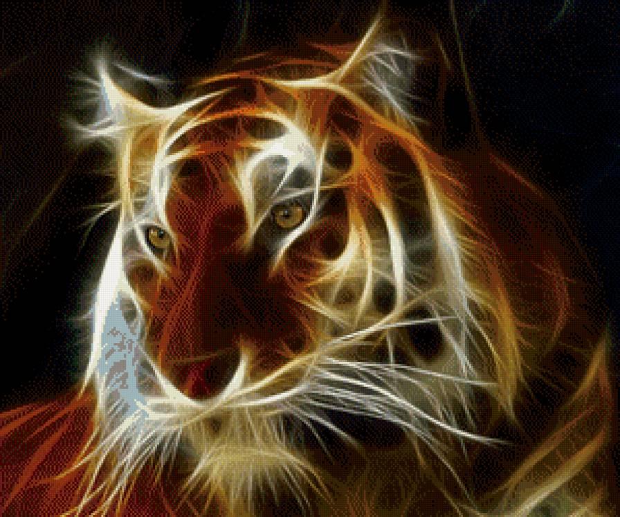 тигр фэнтези, тигр, фотошоп,