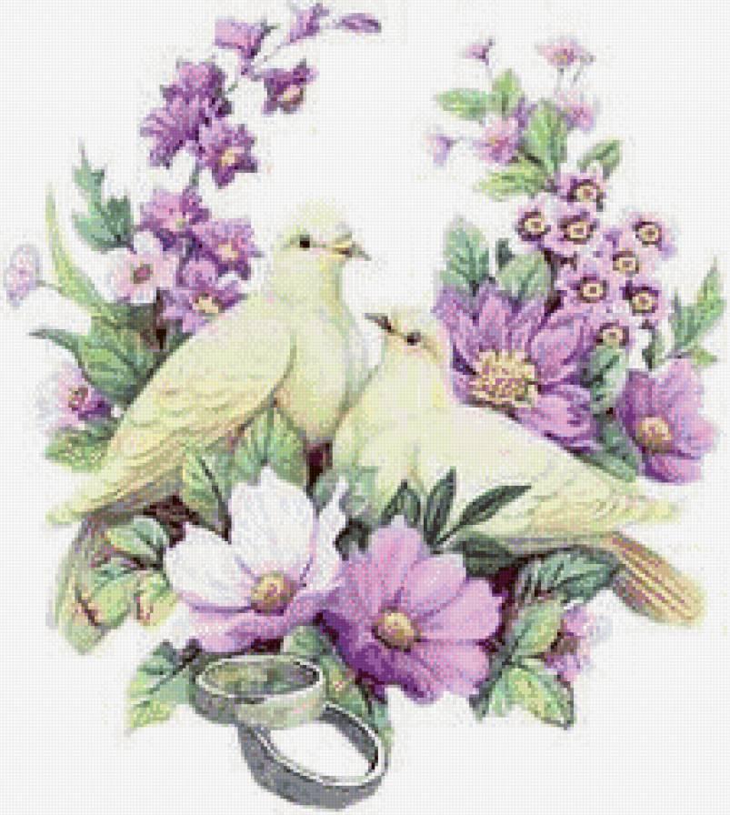 голуби в цветах на рушник,