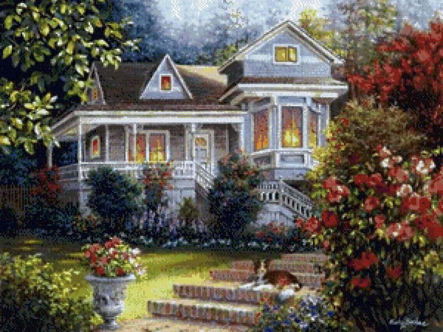 Домик в цветах, пейзаж, домик,