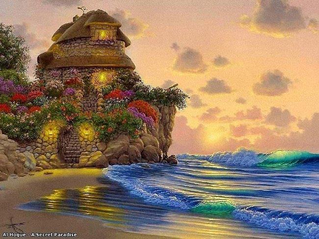 сказочный домик у моря, море