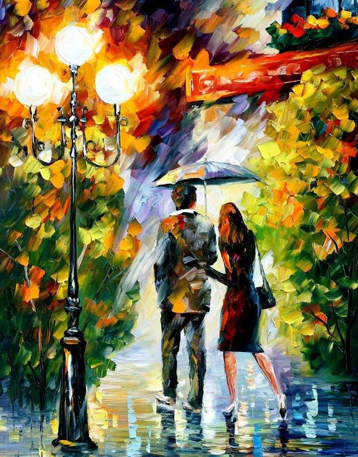 дождливая осень, пано, картина