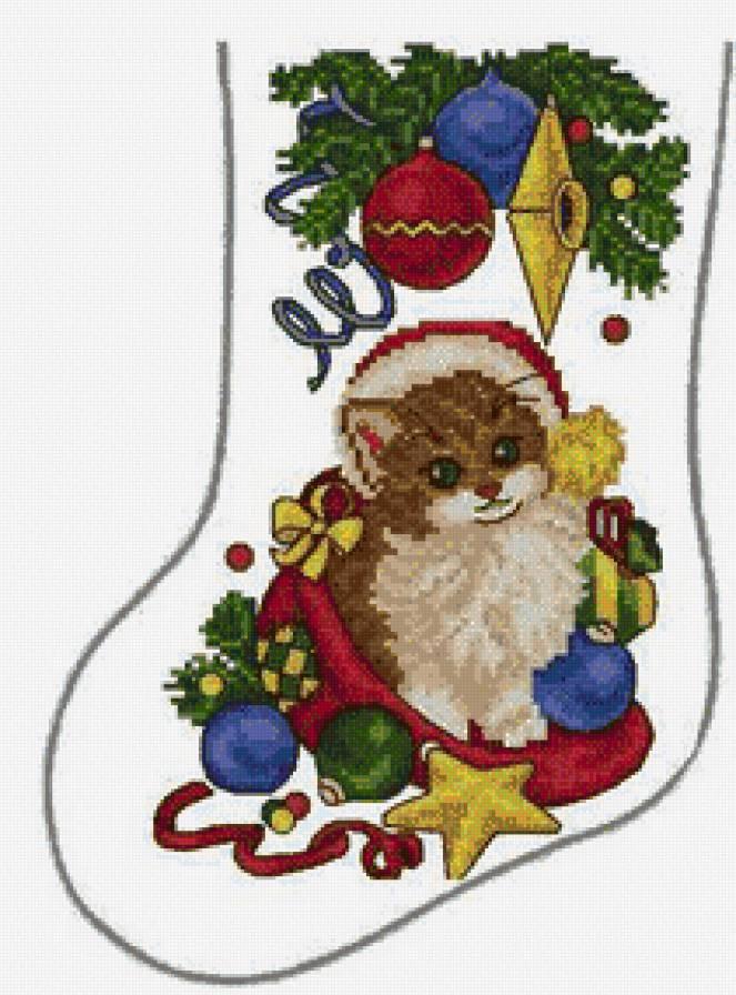 Вышивка для новогоднего носка 724