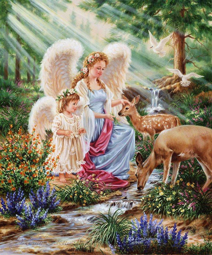 райский сад, ангелы, дети,