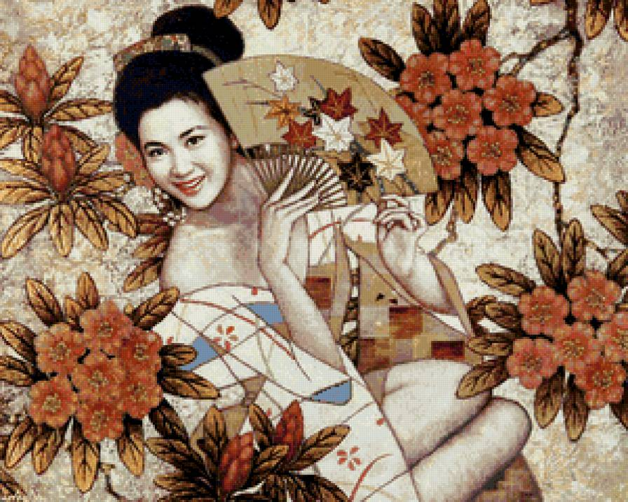 японская девушка с веером в