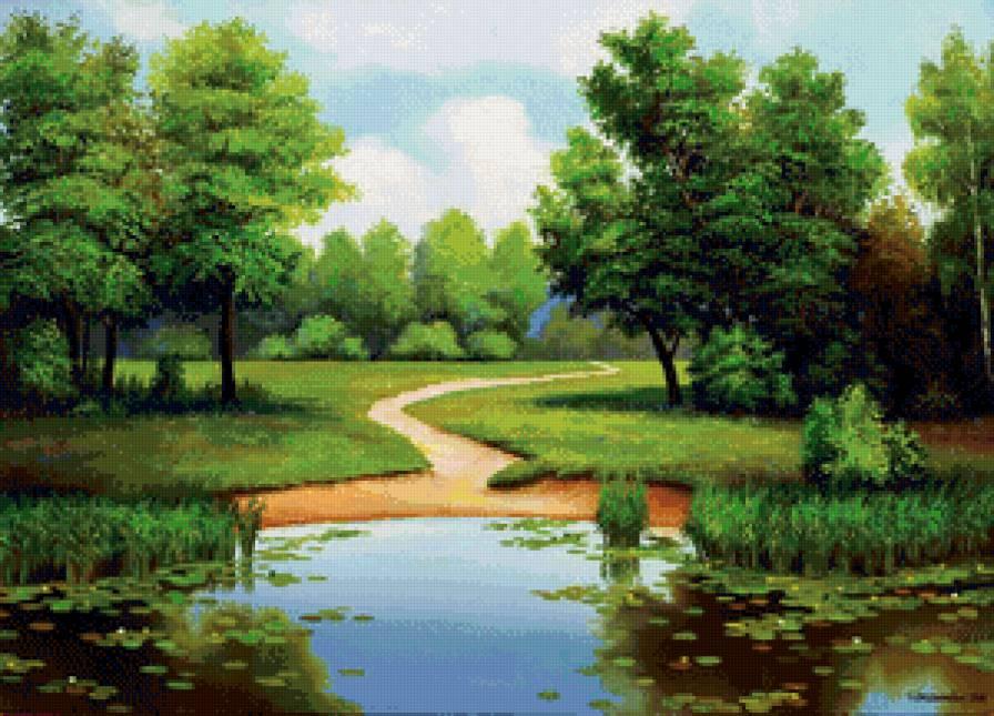 летний пейзаж с рекой,